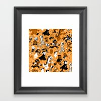 Monster March (Orange) Framed Art Print