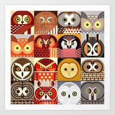 North American Owls Art Print