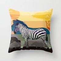 Sunset In Savanna Throw Pillow