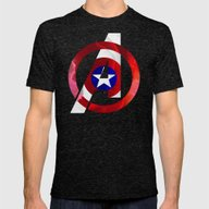 Captain America Avengers Mens Fitted Tee Tri-Black SMALL
