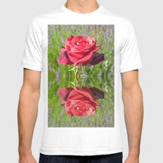 Red Rose Reflect Mens Fitted Tee White SMALL