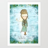 White Tea Girl Art Print