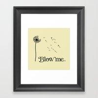 Blow me Dandelion Flower Typography. Framed Art Print