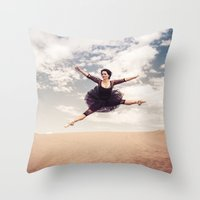 Beautiful Ballet Dancer Leaping Through The Sky Over The Desert  Throw Pillow