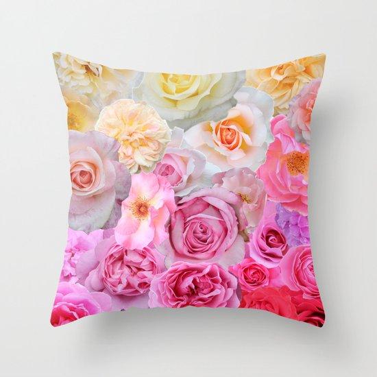 Spring Roses Throw Pillow