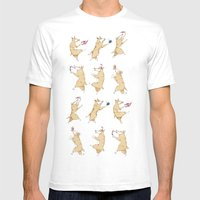 Queen's Corgi Dance Mens Fitted Tee White SMALL