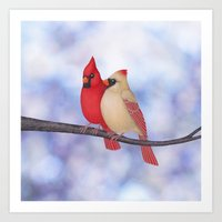 northern cardinals (bokeh) Art Print