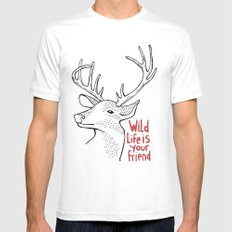 Wildlife is Your Friend SMALL Mens Fitted Tee White