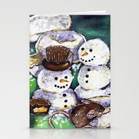 Mouse making snowman Stationery Cards