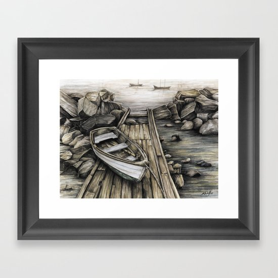Old Boat On The Dock Framed Art Print By Kirsten Neil