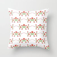 Small floral kitchen collection white Throw Pillow