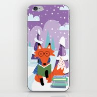 Fox And Books - Purple iPhone & iPod Skin