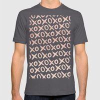 Elegant faux rose gold blush pink love xoxo typography pattern Mens Fitted Tee Asphalt SMALL