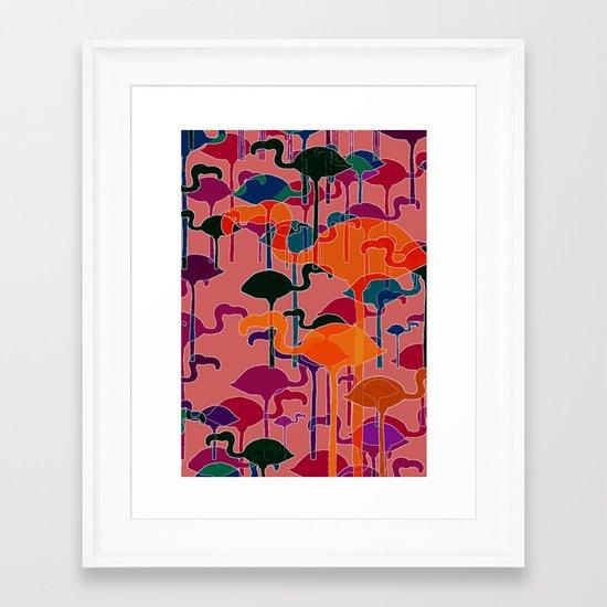 multicoloured flamingos Framed Art Print