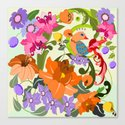 Damask Flowers, Leaves and Tropical Bird pillow Canvas Print