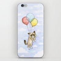 Cat With Balloons Grumpy Birthday Meme iPhone & iPod Skin
