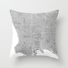 Los Angeles map grey Throw Pillow
