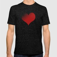 love red Mens Fitted Tee Tri-Black SMALL