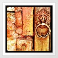 Lion Door. Art Print