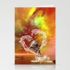 Dolphin jumping by a herat made of water  Stationery Cards