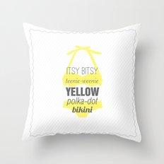 Yellow Polka Dot Bikini Throw Pillow