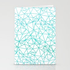 Geometric abstract pattern - light aqua on white Stationery Cards