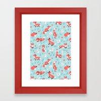 Fox and Bunny Pattern Framed Art Print