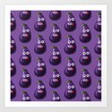 Funny Cartoon Eggplant Pattern Art Print