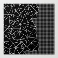 Abstract Grid Outline Wh… Canvas Print
