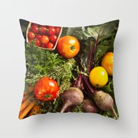 Mixed Organic Vegetables With Tomatoes Beets & Carrots Throw Pillow