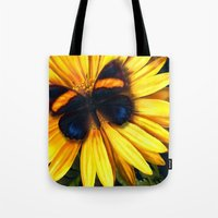 Butterfly On Yellow Tote Bag