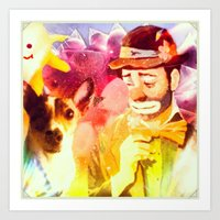 Sad Clown, Happy Dog Art Print