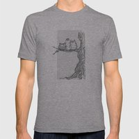 Three owls in a tree Mens Fitted Tee Athletic Grey SMALL