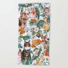 Cat and Floral Pattern III Beach Towel