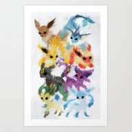 Art Print featuring Eeveelutions by Melissa Smith