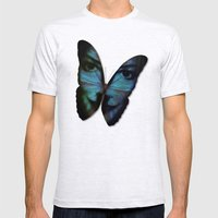 AM I A BUTTERFLY DREAMING I AM AN HUMAN Mens Fitted Tee Ash Grey SMALL