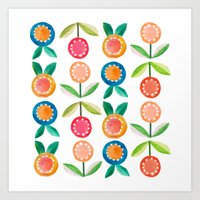 Water Colour Flowers Art Print