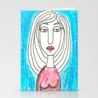 Blue Girl Stationery Cards