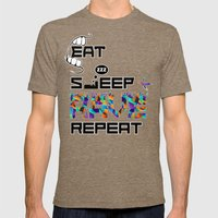 Eat Sleep RAVE Repeat Mens Fitted Tee Tri-Coffee SMALL