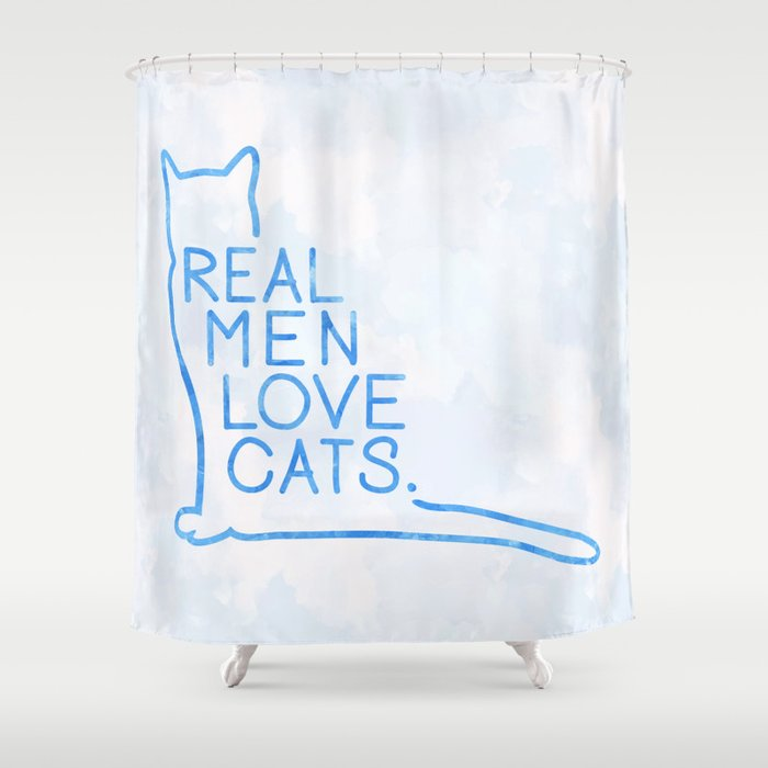 Real Men Love Cats Watercolor Blue Shower Curtain By