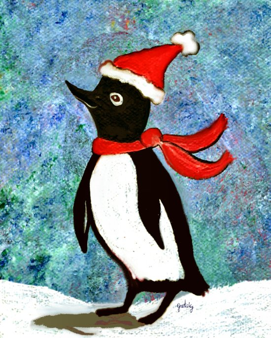 Holiday Penguin Art Print