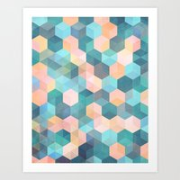 Child's Play 2 - hexagon pattern in soft blue, pink, peach & aqua Art Print