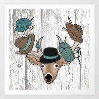 Deer Hat Rack Art Print