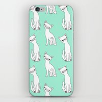 Mint And White Retro Cat… iPhone & iPod Skin