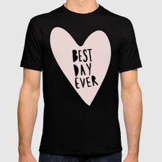 Best day ever hand drawn heart Black SMALL Mens Fitted Tee