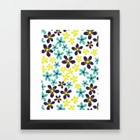 Yellow and Blue Flower Framed Art Print