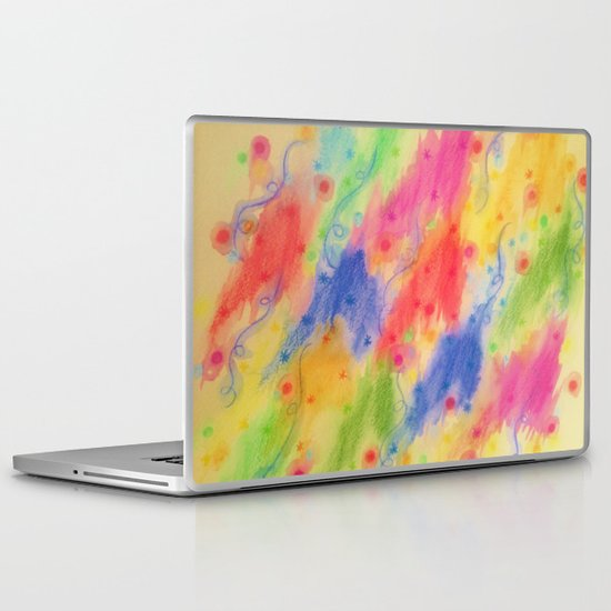 SEEING STARS 2 - Yellow Rainbow Pretty Starry Sky Abstract Watercolor Painting Feminine Pattern Laptop & iPad Skin