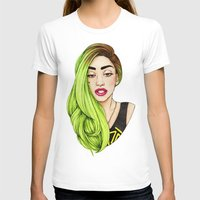 lady gaga T-shirts featuring Lady Neon by Helen Green