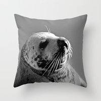 Howth Harbour Seal Throw Pillow