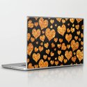 Valentine's | Girly Gold Glitter Cute Love hearts Pattern Black Laptop & iPad Skin